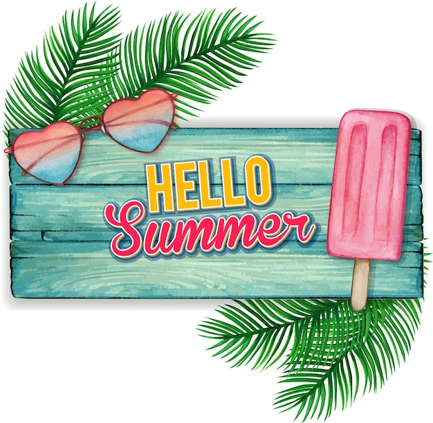 Watercolor blue wooden banner with sunglasses and popsicle