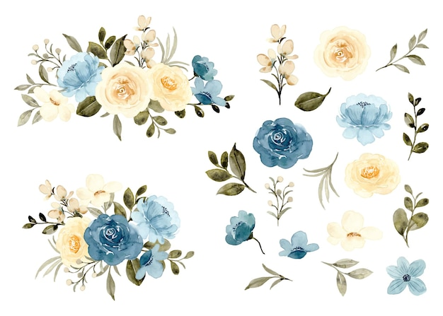 Watercolor blue yellow floral elements and arrangement collection