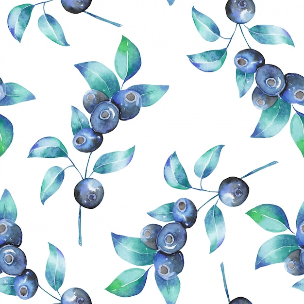Watercolor blueberry branches seamless pattern