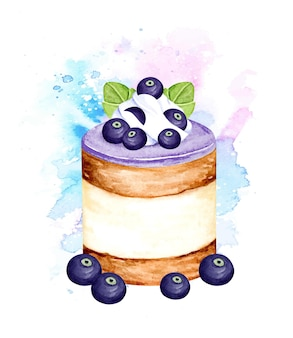 Watercolor blueberry cake
