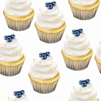 Watercolor blueberry muffin cupcake pattern background