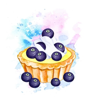 Watercolor blueberry pie