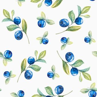 水彩ブルーベリーシームレスパターン