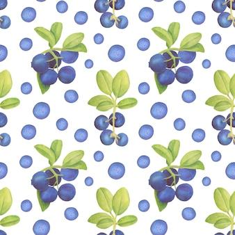 シームレスなパターンの葉と水彩ブルーベリー