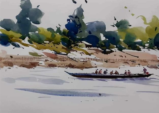 レックサイトのイラストの水彩ボートの男
