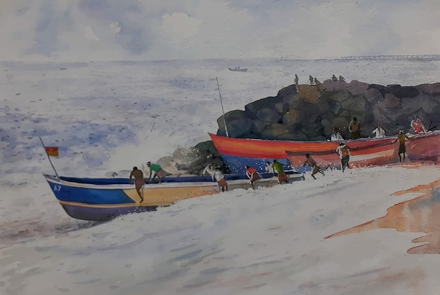 海のビーチで水彩ボート