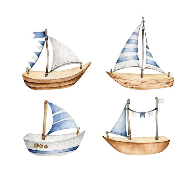 白で隔離の水彩画のボートセット