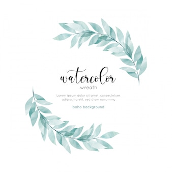Watercolor bohemian style floral card