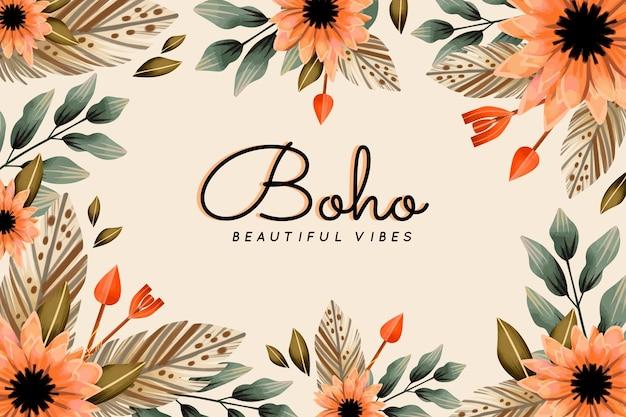Watercolor boho background design