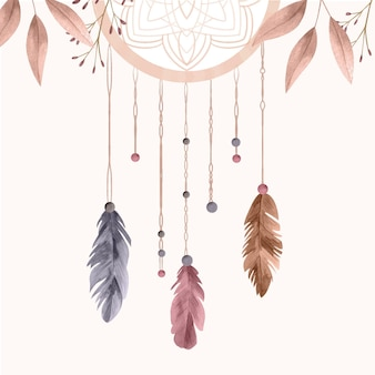 Watercolor boho background with dream catcher