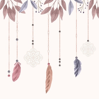 Watercolor boho background with feathers
