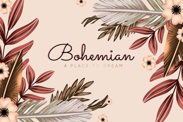 Акварель бохо фон с цветами и листьями