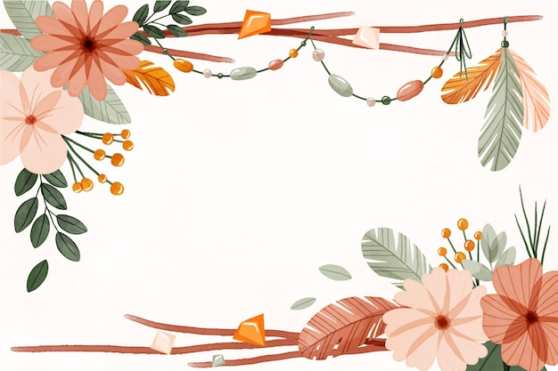 Watercolor boho background with flowers and leaves