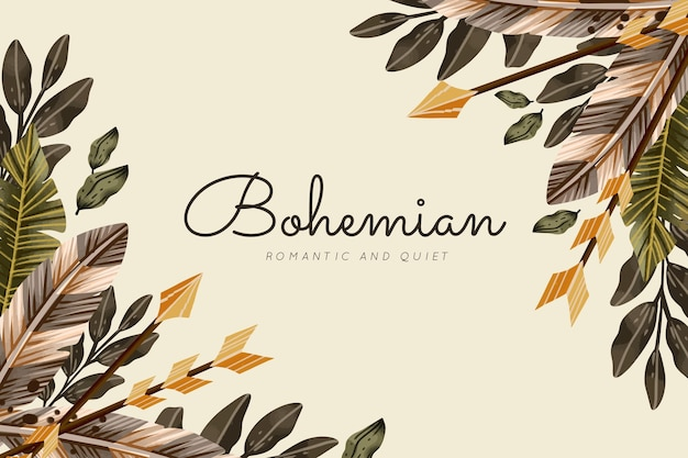 Watercolor boho background with leaves