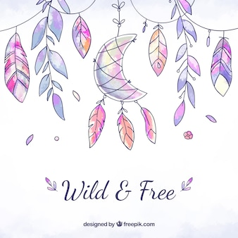 Watercolor boho background