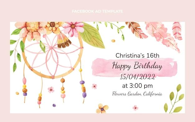 Watercolor boho birthday facebook ad