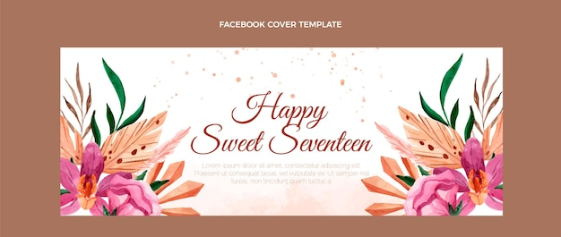 Watercolor boho birthday facebook cover