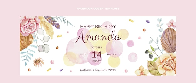 Copertina di facebook di compleanno boho dell'acquerello