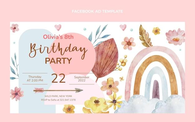 Acquerello boho compleanno facebook
