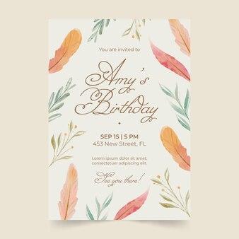 Watercolor boho birthday invitation template