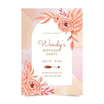 Modello di invito di compleanno boho dell'acquerello