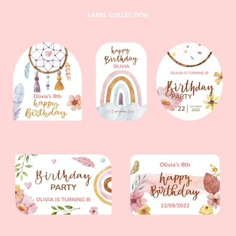 Watercolor boho birthday label collection