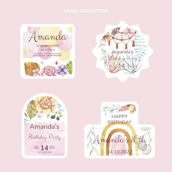 Watercolor boho birthday labels