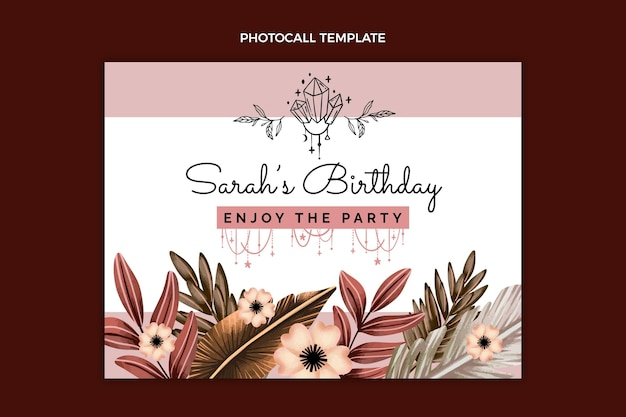 Photocall di compleanno boho ad acquerello
