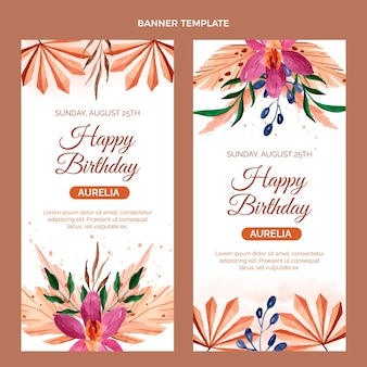 Watercolor boho birthday vertical banners