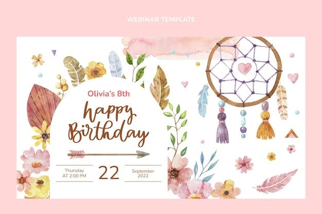 Watercolor boho birthday webinar