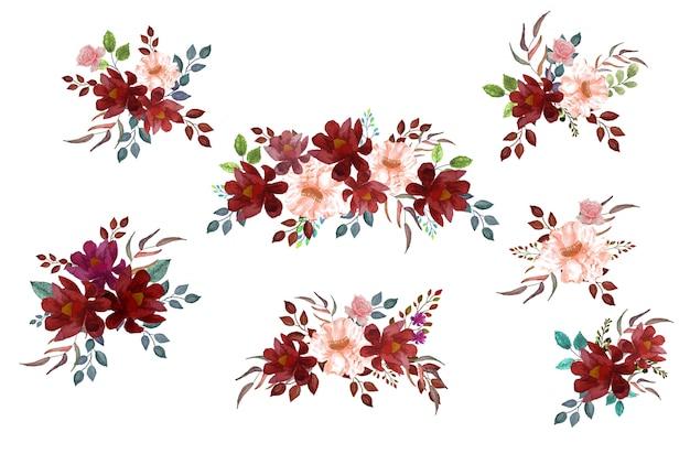 Акварель бохо бордовый красный пурпурный белый розовый цветочный букет цветы