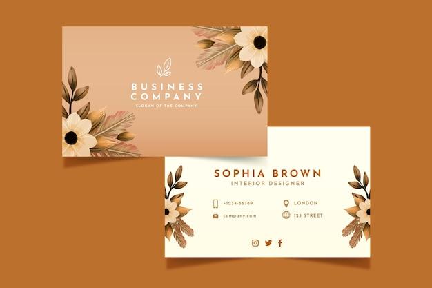Watercolor boho business card