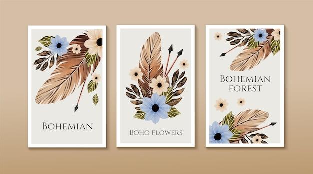 Watercolor boho covers set