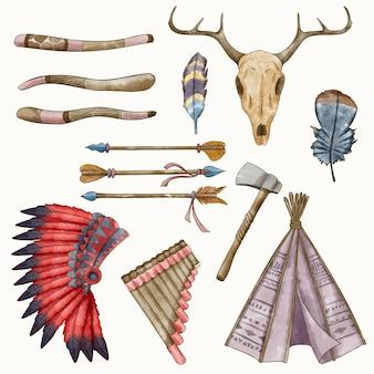 Collezione di elementi boho dell'acquerello