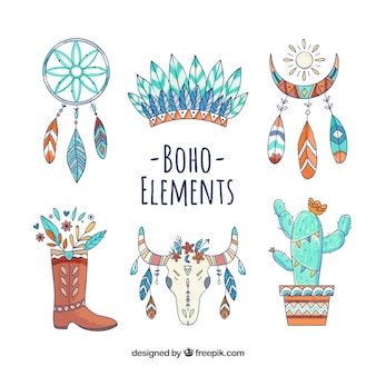 Watercolor boho elements
