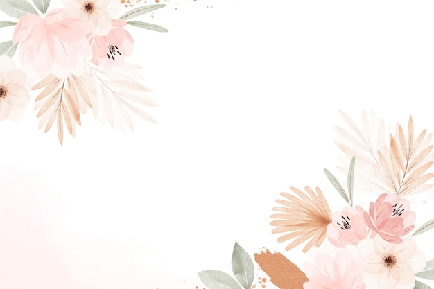 Watercolor boho floral background