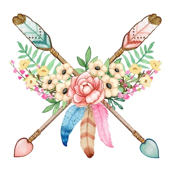 Watercolor boho floral indian arrows wild and free