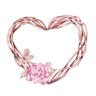 수채화 boho 꽃 화환 발렌타인 핑크 장미와 청첩장, 축하를위한 심장 모양의 가지 프레임.