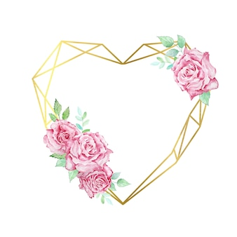 Watercolor boho floral wreath valentine's day pink roses with leaves and gold geometric frame in the shape of a heart, for wedding invitations, congratulations.