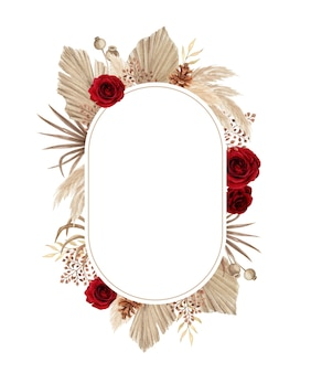 Watercolor boho frame with beautiful red rose and pampas grass