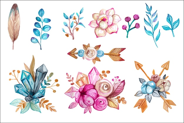 Watercolor boho and magic hand drawn design elements set