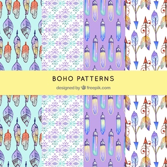 Watercolor boho pattern collection