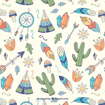 Watercolor boho pattern design