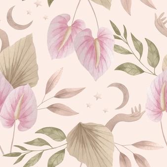Watercolor boho pattern design
