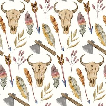 수채화 boho 패턴 디자인