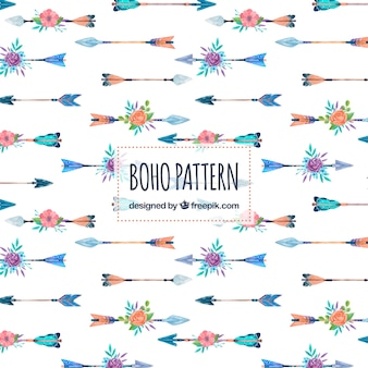 Watercolor boho pattern with arrows and flowers