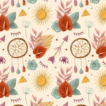 Watercolor boho pattern with dream catchers
