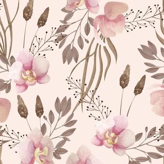 Акварельный образец бохо с цветами