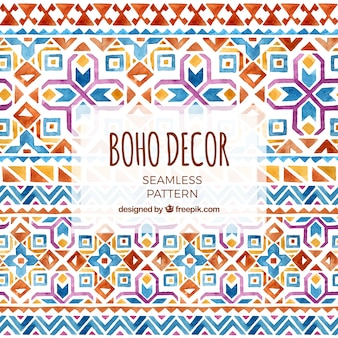 Watercolor boho pattern with geometric design