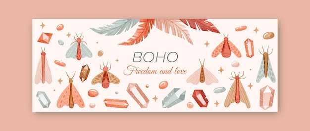 Watercolor boho social media cover template